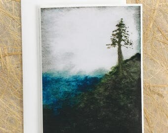 ttams - greeting card with envelope - tree over water - blank