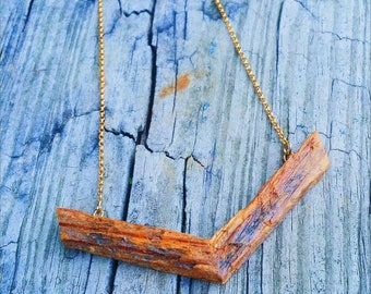 Necklace - Reclaimed Wood - Stainless Steel - RECLAIMED SYMBOLS  - The Collar