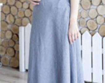 Maxi linen skirt.Floor length skirt.Natural linen skirt.Black linen skirt.Ankle length skirt.Softened linen .made by Anberlinen.