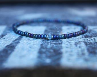 Blue Topaz Men's Beaded Bracelet - Men's Bead Bracelets, Mens gift for him Husband Gift