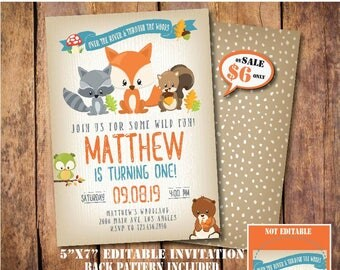 Woodland Birthday Invitation-SELF-EDITING Woodland Party invite-Rustic Invitation-Forest Animals-Fall Invitation-Winter Invitation-Fox-A138