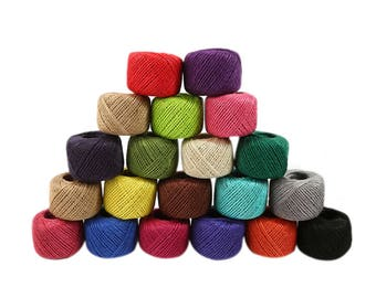 50m Colourful Jute String, Jute Rope, Twine, Rope, Gift Wrapping - PJ286