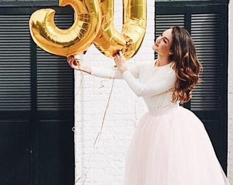 "30 Number Balloons | 40"" Gold Number Balloons 