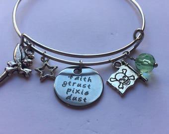 peterpan pixie dust tinkerbell neverland bangle bracelet