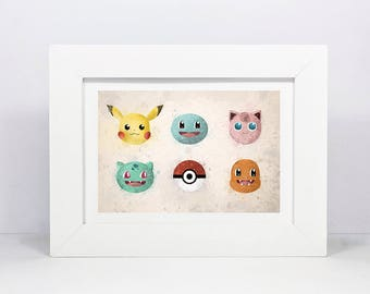 Framed Pokemon Inspired Pikachu, Charmander, Bulbasaur, Squirtle, Jigglypuff, and Pokeball Print | Pokemon Go Inspired Watercolour Style Art