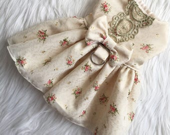 Puppy dress, dog dress, dog wedding dress, dog clothes, puppy harness, dog harness, dog wedding, Flora
