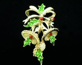 Vintage SIGNED Gerry's Christmas Bells Enamel Brooch, Christmas Pins, Vintage Brooch, Holiday Jewelry, Christmas Brooch, Antique Brooches