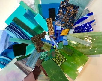 mosaic, tiles, Premium, STAINED, SCRAP, GLASS, 1+1/2 pounds, hand cut, color blend, Blue, Green, Purple, Aqua, Mix, Special Palette, Lot #4