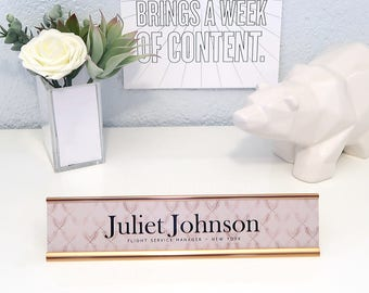 "Custom Patterned Nameplate ""Juliet"" - Personalized Desk Name Plate Sign Decor - Office Accessories - Rose Gold Office Decoration Decor"