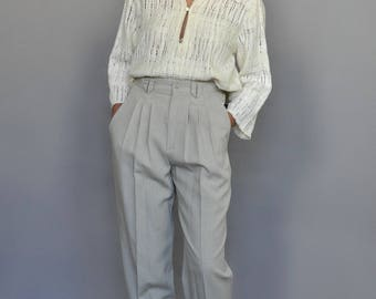 Ivory White Woven Oversized Blouse Vintage 90s