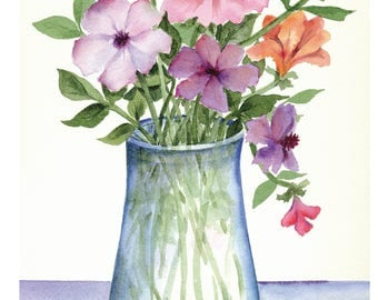 Watercolor bouquet. Large greeting card from an original watercolor. Any occasion. Can be framed.