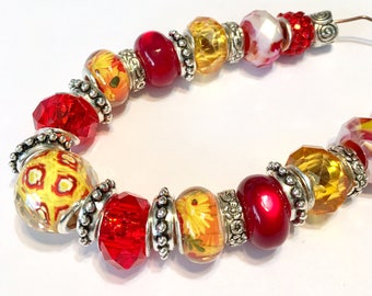 Pandora style Bead set 25 pieces large hole fits pandora biaggi red yellow necklace or just the beads