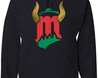 Black Hood Minnesota hybrids sports Sweatshirt (green, red and metallic gold  / Minnesota sweatshirt
