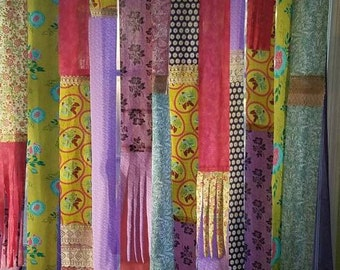 Bohemian Curtain Patchwork Junk Gypsy Hippie Door Curtain Door Panel Boho Patchwork  Curtain Festival Glamping Hippie