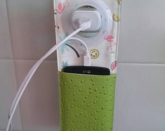 Mobile phone green leatherette with suspension for charger
