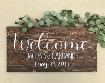 Wedding Welcome Sign - Hand painted and custom sign with bride and grooms name and wedding date