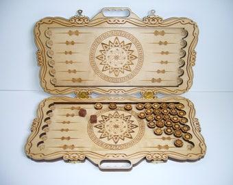 Wooden Backgammon, board game, greek style, laser cut, wooden item