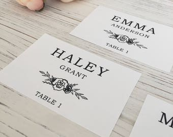 Wedding Place Settings, Name and Table Number, Marble Table Numbers, Place Cards, Place Settings, Calligraphy Hand-Lettered Tiles