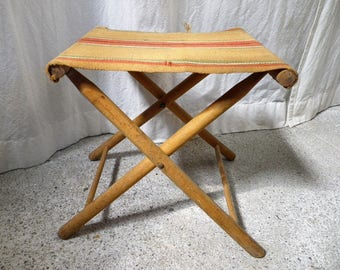 Old folding seat in wood and burlap - Old folding stool - Decoration c&aign - Decoration & Folding stool   Etsy islam-shia.org