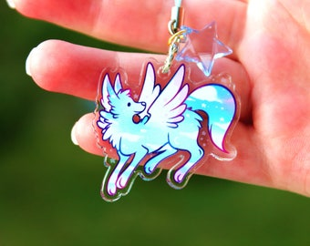 Cloudy the Sky Guardian Wolf - Acrylic Charm 1.5 Doublesided Cute Furry Keychain Cellphone Strap