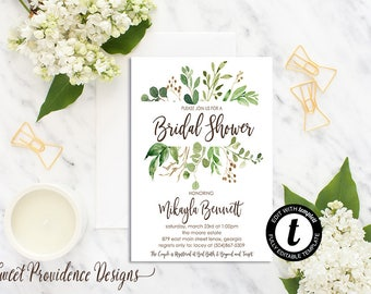 Greenery Bridal Shower, Bridal Shower Invitation, Botanical Shower Invtation, Printable Invitation, Editable Invitation, Instant Download
