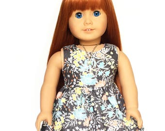 Summer Doll Dress, Floral, Gray, White, Blue, Yellow, Summer, American, 18 inch Doll Clothes