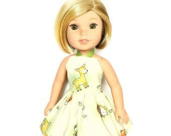 Halter Dress, Garden, Green, Yellow, White, Pink, 14.5, Fits dolls such as AG, Wellie Wishers, 14 inch Doll Clothes