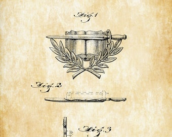 Military Army Insigne Patent - Patent Print, Wall Decor, Military Decor, Military Insigne, Army Gift, Military Gift, Military Medal