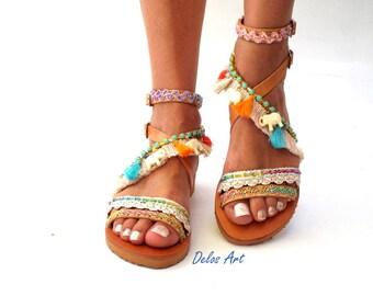 "Leather Boho Sandals, ""OM"",  Leather sandals, white elephant Greek Sandals, Handmade Sandals, summer sandals, Bohemian sandals"