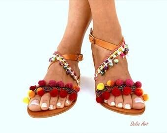 Pom Pom sandals, / Alkionida/  leather Sandals, Colorful  Sandals, boho Sandals, Delos Art, Leather Sandals, Greek Sandals, Handmade Sandals