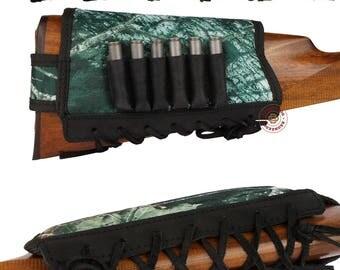 Buttstock Cartridge Shell Holder Rifle Waterproof Cover Nylon 7.62 cal Padded, Ammo Buttstock Holder Shell Case