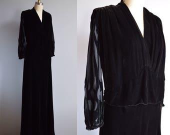 Akhmatova dress - vintage 1930s silk velvet burnout dress with cutwork and full sleeves - 30s black ruched devoré gown