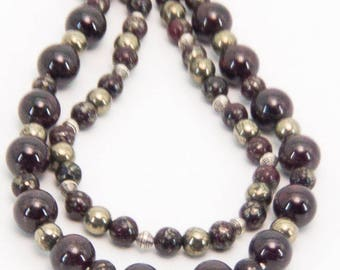 Natural Garnet and Pyrite Sterling Silver Necklace