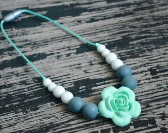 Toddler Silicone Teething Necklace, Mint and Gray Baby Teething Necklace, Flower Beads, Chew Beads, BPA free, Baby Shower Gift