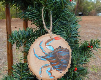 Blue Crab Hand painted wood slice ornament