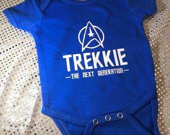 Star Trek Style Trekkie The Next Generation Personalized Baby Onesie