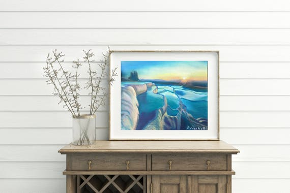 Pamukkale, sunset Seascape, OOAK, Turkey Landscape, Original soft pastel drawing, gift idea for him, home office decoration, living wall art