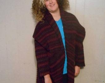handknit purple metallic wool shawl collared swing coat