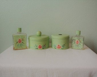 1950s Handpainted Powder Room/Vanity Containers