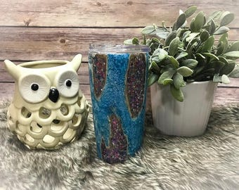 Custom Geode Glitter Dipped Stainless Steel Tumbler Cup