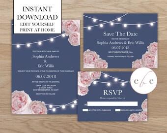 DIY Wedding Invitation Bundle/Instant Digital Download/String Lights/Pink Flowers