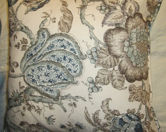 """18"""" Piped Pillow Cover with Zipper / Blue Pillow Cover /Brown Pillow Cover"""