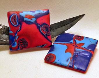 Brooch. Square brooch in red and blue. New Interstellar design brooch.