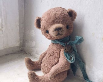 Teddy Bear  Friend Forever  -  artist teddy OOAK, viscose fabric, art toy collectible, teddy bear