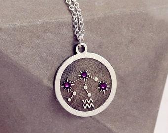 Aquarius Birthstone | Sterling Silver | Zodiac Sign Necklace | January Birthstone | Horoscope Necklace | Zodiac Necklace | Astrology Jewelry
