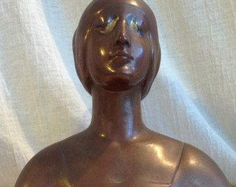 Bronze glazed pottery bust young woman in Medival dress 1917 art pottery