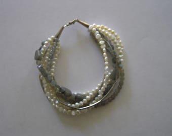 Labradorite pearl and sterling silver bracelet