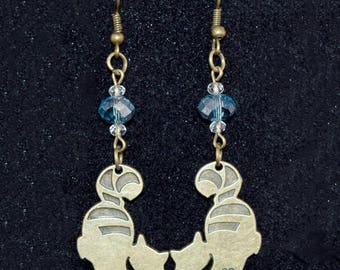 Cheshire Cat Earrings - Geeky Jewelry - Antique Bronze - Alice in Wonderland - Blue - Glass - Crystal - Gift for Her - Halloween - Christmas