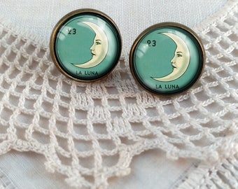 La Luna Loteria Crescent Moon Stud Earrings