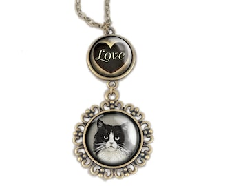Fluffy Black and White Cat Love pendant necklace